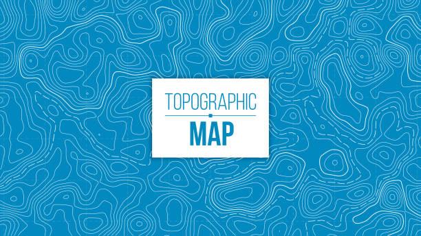 Creative vector illustration of topographic map. Art design contour background. Abstract concept graphic element and geography scheme. Mountain hiking trail grid, terrain path Creative vector illustration of topographic map. Art design contour background. Abstract concept graphic element and geography scheme. Mountain hiking trail grid, terrain path. contour line stock illustrations