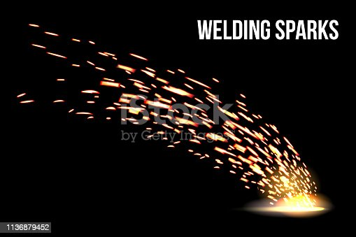 Creative vector illustration of welding metal fire sparks isolated on transparent background. Art design during iron cutting template. Abstract concept graphic weld element.