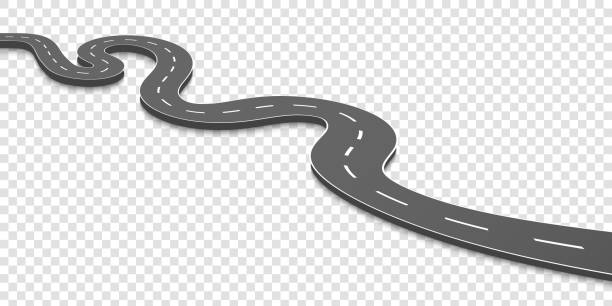 ilustrações de stock, clip art, desenhos animados e ícones de creative vector illustration of winding curved road. art design. highway with markings. direction, transportation set. abstract concept graphic element. way location infographic template. pin pointer - road