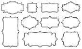 Creative vector illustration set of decorative vintage frames isolated on transparent background. Art design border labels. Blank frames template. Abstract concept graphic retro element.