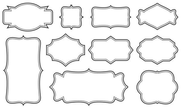 創意向量插圖集的裝飾復古框架隔離在透明的背景。藝術設計邊框標籤。空白框架範本。抽象概念圖形復古元素 - 形狀 幅插畫檔、美工圖案、卡通及圖標
