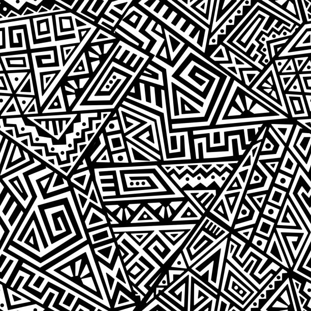 Creative Vector Seamless Pattern Creative Ethnic Style Square Seamless Pattern. Unique geometric vector swatch. Perfect for screen background, site backdrop, wrapping paper, wallpaper, textile and surface design. Trendy boho tile. indigenous culture stock illustrations