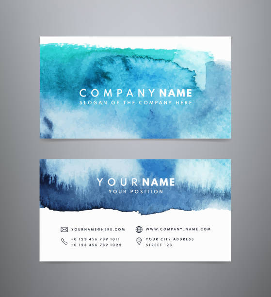 Creative watercolor abstract business card template Creative watercolor abstract business card template. Abstract blue watercolor backgrounds. Vector design in blue, turquoise and white colors tranquility stock illustrations