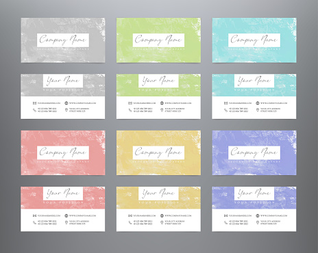 Creative watercolor business cards. Set abstract multicolor business cards. Vector grunge design