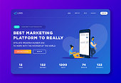 Creative website template landing page, social media apps, time and project management.