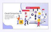 Creative website template of cloud computing concept
