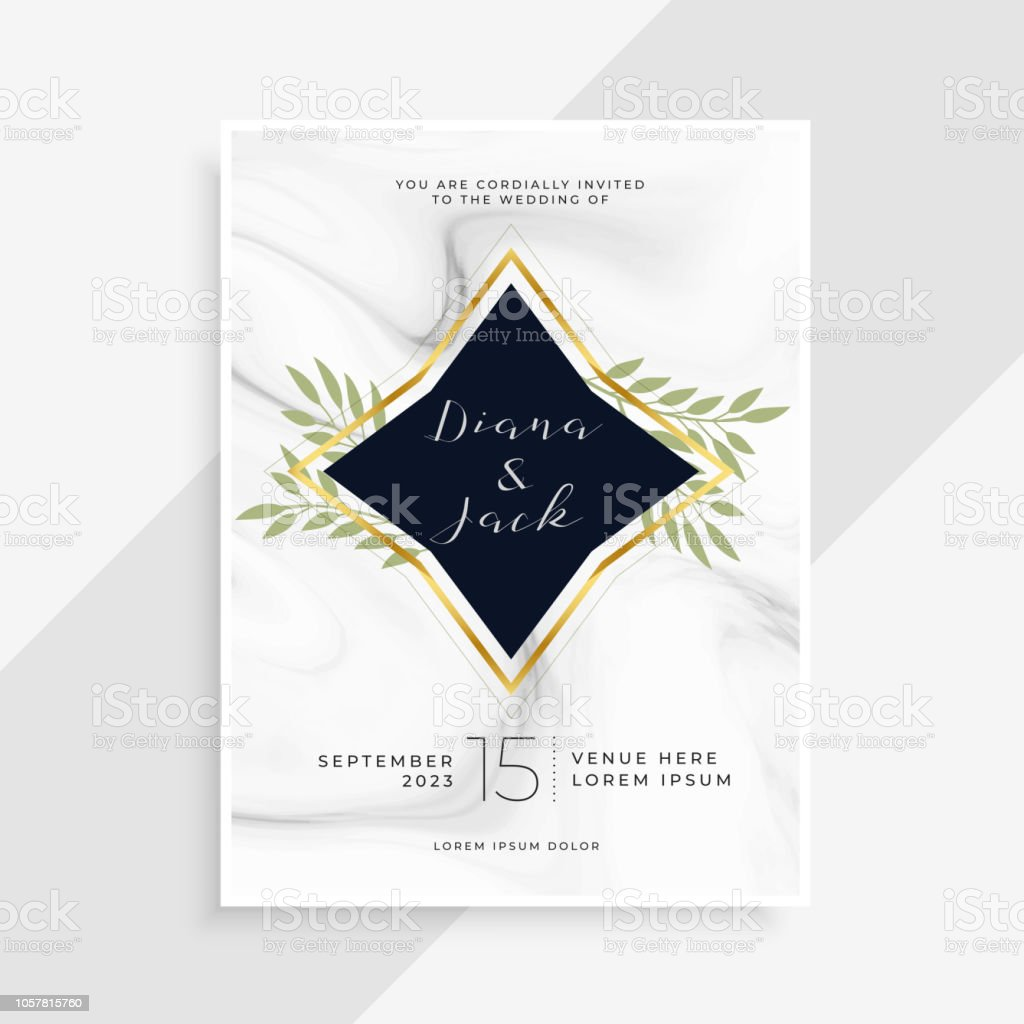 Creative Wedding Invitation Card With Marble Texture Stock