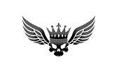 Creative Wings Skull Vintage Crown King Logo Design Illustration