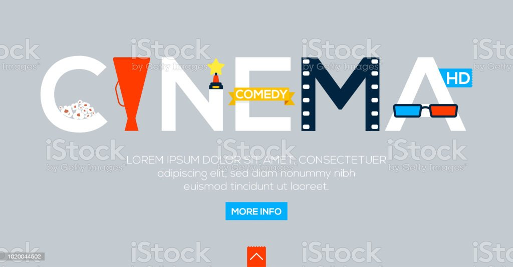 Creative Word For Online Cinema And Other Lettering On Gray