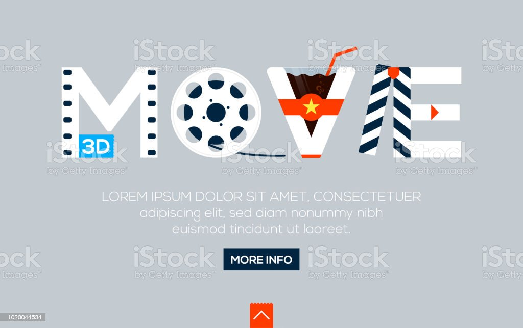 Creative Word For Online Movie And Other Lettering On Gray