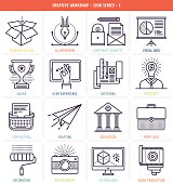 Creative workflow icons set. These line style vector illustrations represent creative workflow and management tools.