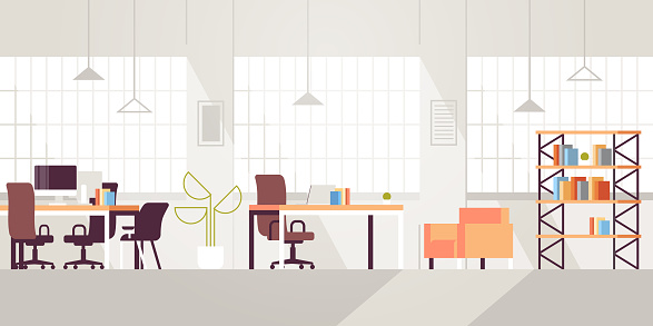 creative workplace modern open space empty nobody office interior contemporary co-working center flat horizontal clipart