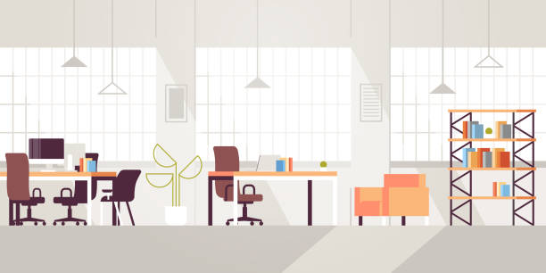 creative workplace modern open space empty nobody office interior contemporary co-working center flat horizontal - office stock illustrations