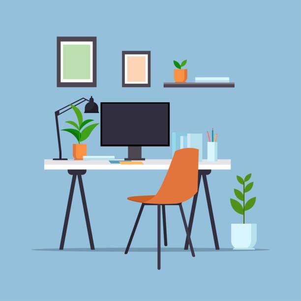 ilustrações, clipart, desenhos animados e ícones de local de trabalho criativo com monitor de computador vazio sem pessoas gabinete mobiliário de escritório moderno apartamento - escritorio