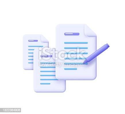 istock Creative writing and storytelling, brief, contract terms and conditions, document paper, assignment concept. 3d vector illustration. 1322384908
