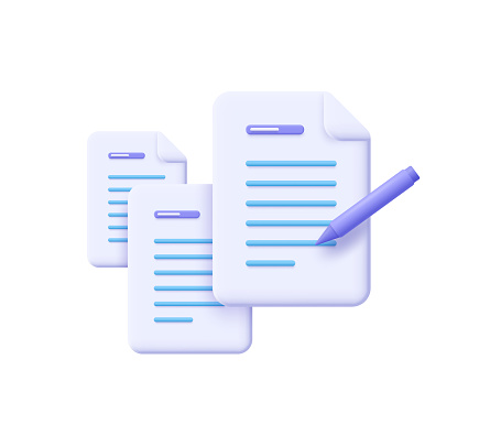 Creative writing and storytelling, brief, contract terms and conditions, document paper, assignment concept. 3d vector illustration.