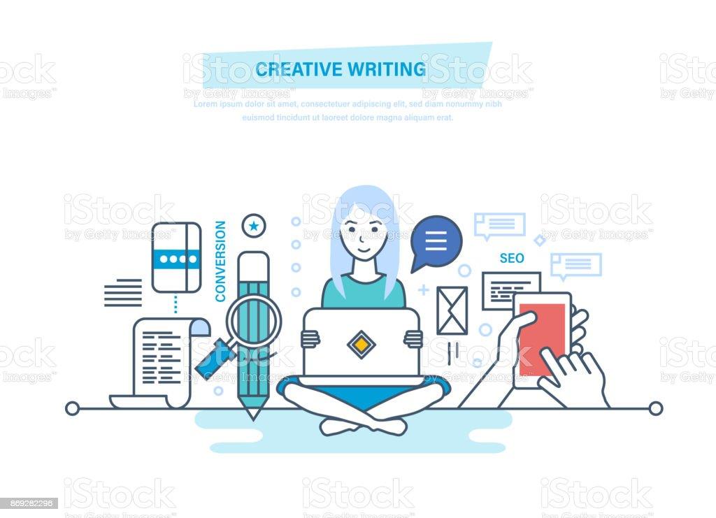 創造的な執筆。コピー ライターとコピーライティング ベクターアートイラスト