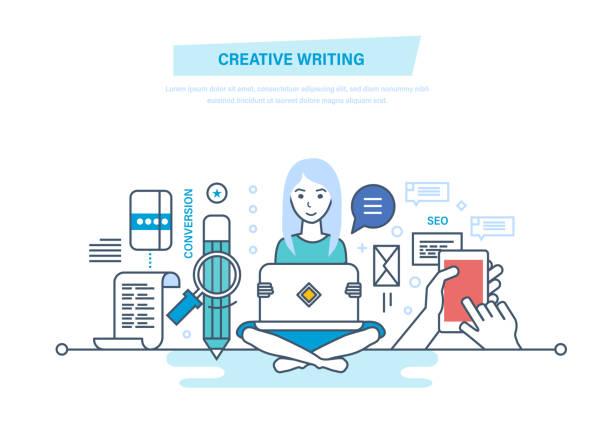 創造的な執筆。コピー ライターとコピーライティング - フリーランス点のイラスト素材/クリップアート素材/マンガ素材/アイコン素材