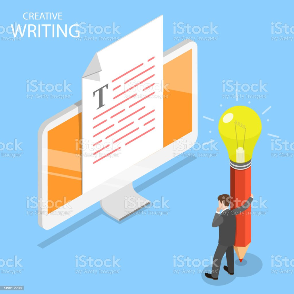 Creative Writing Flat Isometric Vector Concept Stock Vector Art