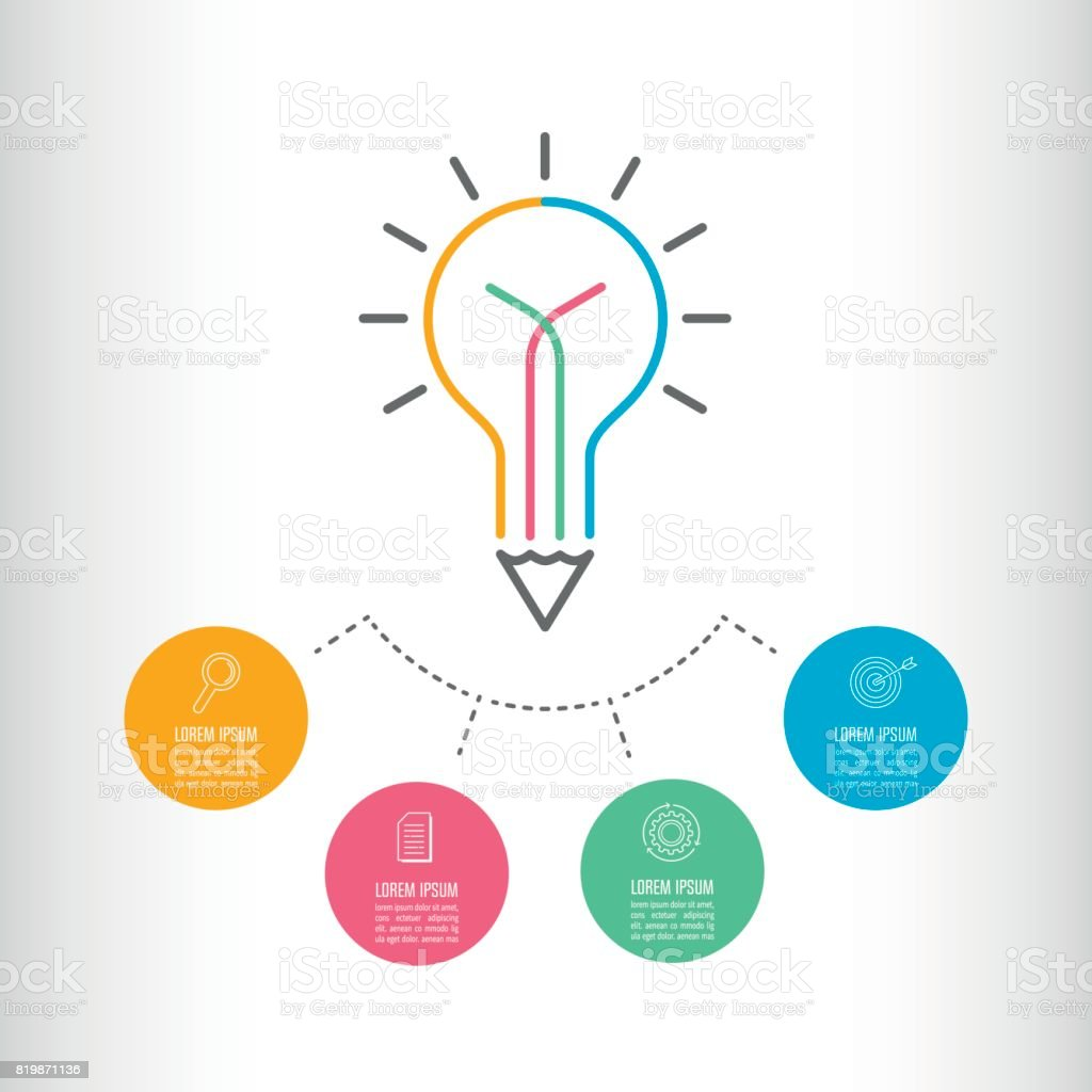 Creative Writing Light Bulb And Pencil Icon With Infographics Vector Idea Infographic Template For Diagram 4 Step Option Timeline