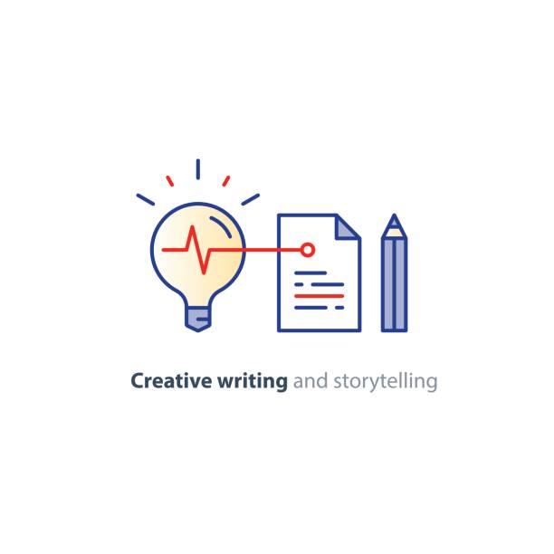 kreatives schreiben, geschichte erzählen idee, papierseite und bleistift lineare symbole - buchstabenschreibweise stock-grafiken, -clipart, -cartoons und -symbole