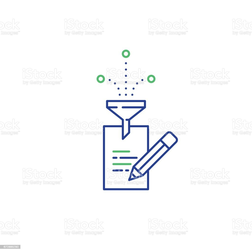 Creative writing, story telling idea, paper page and pencil linear icons vector art illustration