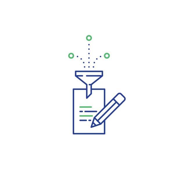 stockillustraties, clipart, cartoons en iconen met creatief schrijven, verhaal vertellen idee, pagina van papier en potlood lineaire pictogrammen - oppakken