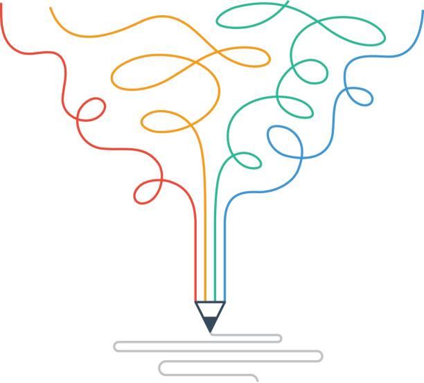 Creative writing, storytelling, graphic design studio symbol Writing skills, creative imagination. Story telling and narration. Linear design vector illustration creative occupation stock illustrations