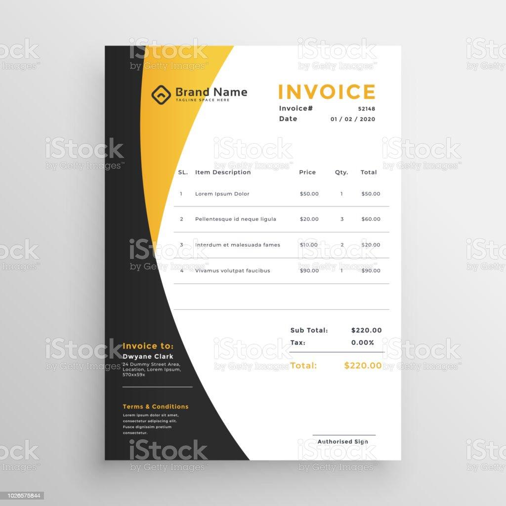 creative yellow modern invoice template stock vector art more