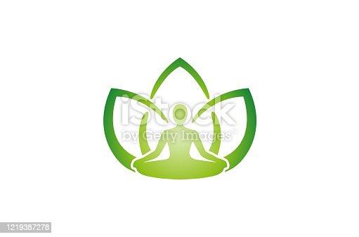 Creative Yoga Position Green Leaves Human Silhouette Logo
