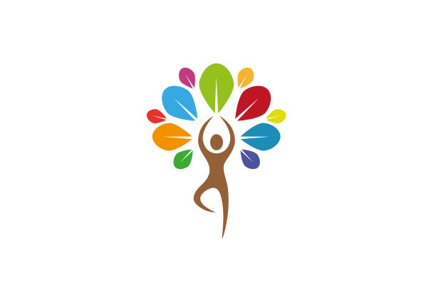 creative yoga tree lotuslogo design vector symbol illustration - wellness stock illustrations