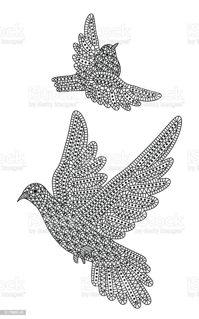Ilustración de Creativa Zentange Aves Decorativo Paloma Y Gorrión y ...