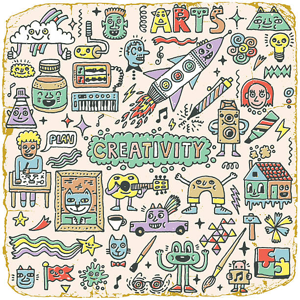 kreativität aktivitäten lustige doodle cartoon set 1. kunst und kunsthandwerk. - schultischrenovierung stock-grafiken, -clipart, -cartoons und -symbole