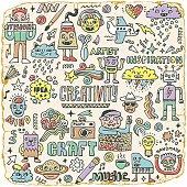 Creativity Activities Funny Doodle Cartoon Set 2. Arts and Crafts.
