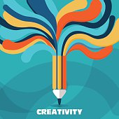 istock Creativity and idea vector concept. A pencil with colorful lines 488625432