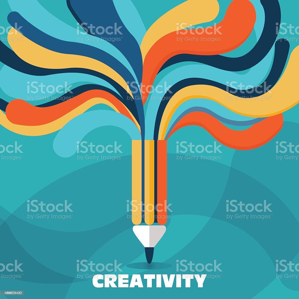 vector de concepto de creatividad y la idea. Un lápiz con líneas coloridas - ilustración de arte vectorial