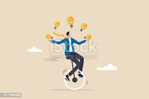 istock Creativity and ideas, innovation or skill to success in business, skillful businessman riding unicycle juggling lightbulb lamp metaphor of plenty ideas. 1317564353