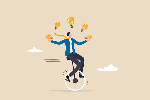 Creativity and ideas, innovation or skill to success in business, skillful businessman riding unicycle juggling lightbulb lamp metaphor of plenty ideas.