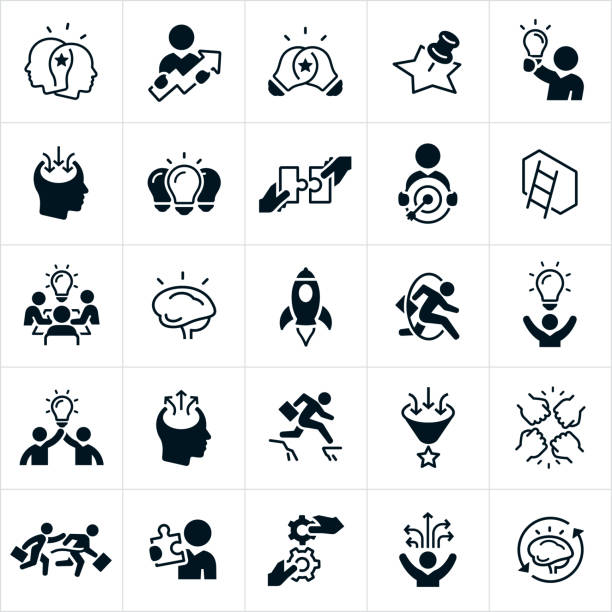 Creativity and Innovation Icons A set of creativity and innovation icons. They include the sharing of ideas and knowledge, light bulbs, a business person holding a lightbulb, a single light bulb lit, two pieces of a puzzle joining, a target with an arrow in the bullseye, a wall with a latter, a human head with ideas coming in as well as a human head with creative ideas going out, a brain, rocket ship, fist bump, person winning a race, cogs and other icons related to the concept of creativity and innovation. conceptual symbol stock illustrations