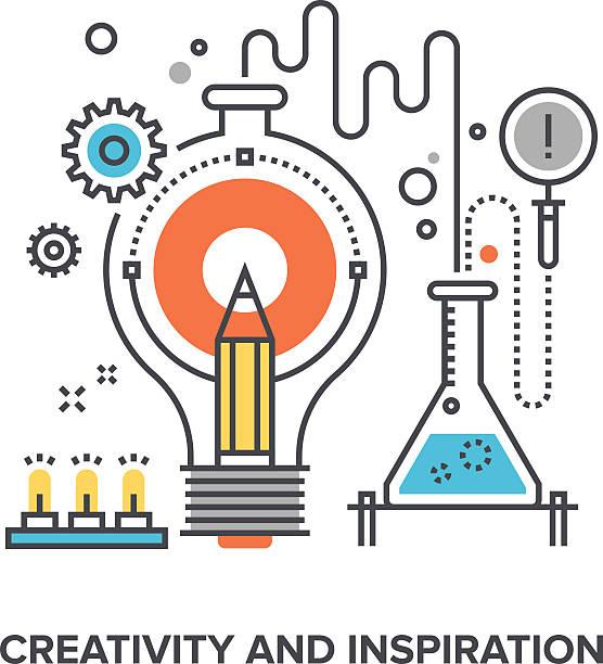 ilustraciones, imágenes clip art, dibujos animados e iconos de stock de creativity and inspiration - laboratorio de ciencia