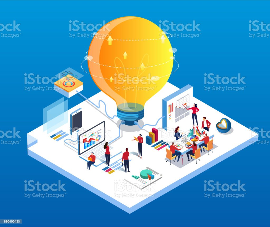 Creativity and Team Data Conference vector art illustration