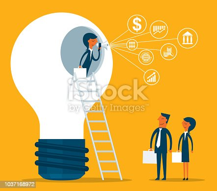 Business Person merge ideas to success
