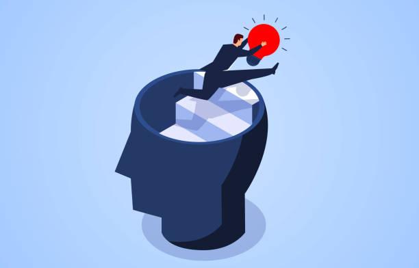 Kreativität, Geschäftsmann fliegt mit Glühbirne aus dem Gehirn – Vektorgrafik