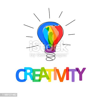 Hand drawn doodle bulb filled with paint strokes as creative idea symbol.