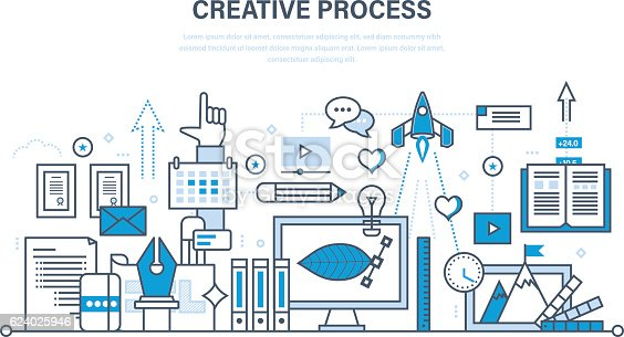 Creative process in stages: filling the brief, prototyping models and sketches, creation of the finished illustration and project. Illustration thin line design