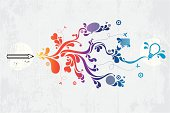 Creativity theme graffiti vector background. Grunge elements and other design elements are layered and grouped. Simple gradient was used in coloured parts. In zip file you can find aics3 and hi-res jpg as well.