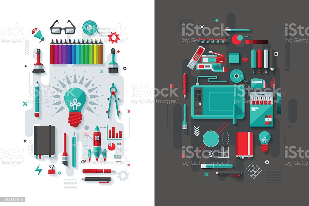 Creativity & Graphic Design Concept vector art illustration