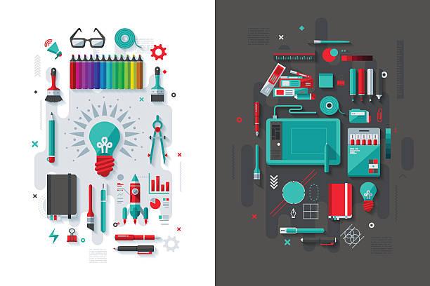 Creativity & Graphic Design Concept vector art illustration