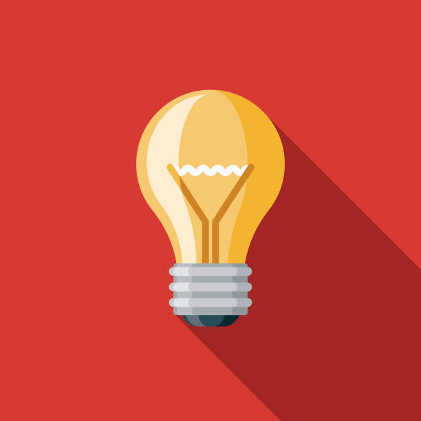 Creativity Graphic Design Icon Icon A flat design/thin line icon on a colored background. Color swatches are global so it's easy to edit and change the colors. File is built in CMYK for optimal printing and the background is on a separate layer. light bulb stock illustrations