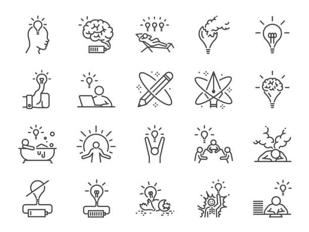 bildbanksillustrationer, clip art samt tecknat material och ikoner med kreativitet ikonuppsättning. med ikoner som inspiration, idé, hjärnan, innovation, fantasi och mycket mer. - work stress